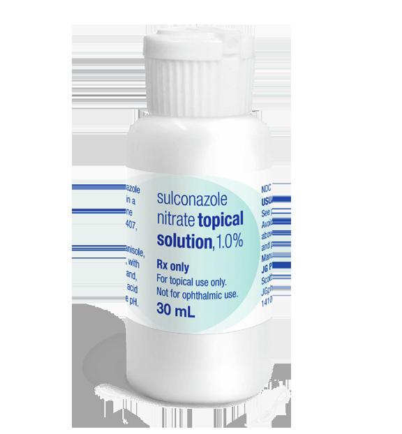 Bottle of prescription sulconazole nitrate topical solution.